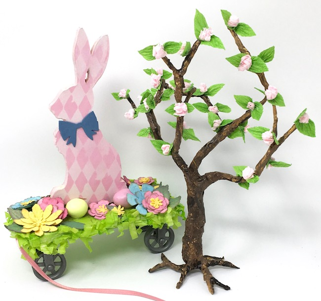 DIY cherry blossom paper tree with pull toy bunny