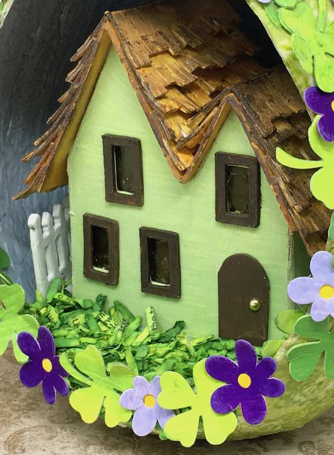 St. Patrick's Day paper house with easy DIY paper grass