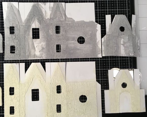 Stenciled Greystone Halloween Paper House with base layer of paint applied