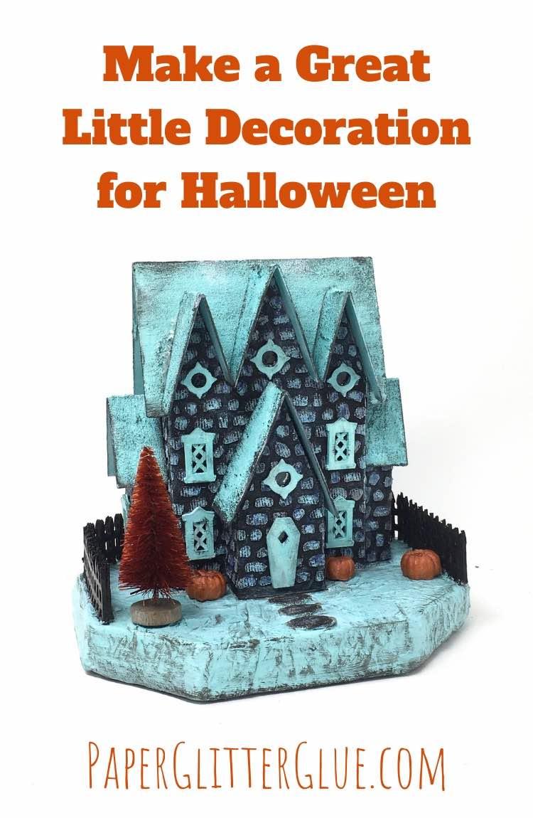 Stone House with 3 Gables Miniature Halloween House