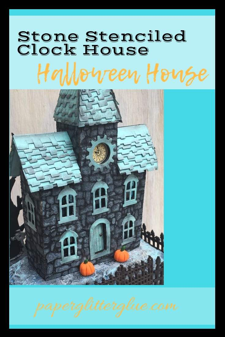 Stone Stencil Clock House miniature Halloween clock house