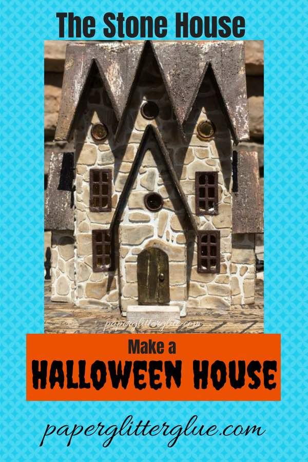 A little cardboard house made for Halloween with a total of 6 gables, stenciled with stone texture. #halloweenhouse #putzhouse #halloween #papercraft