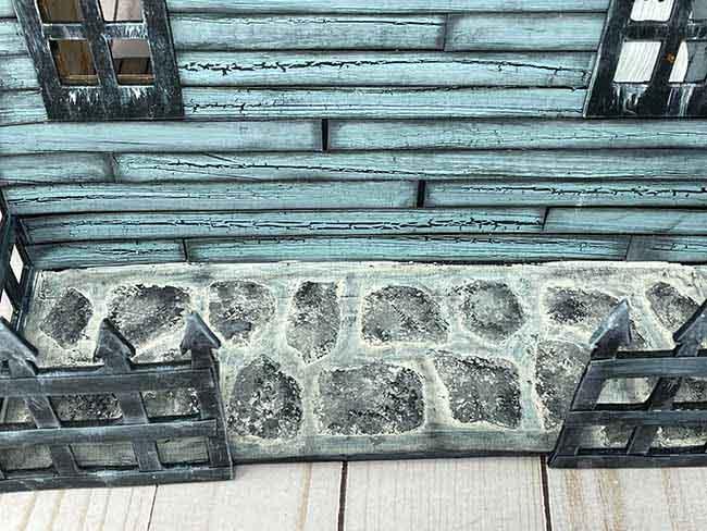 Stone stencil patio on dollhouse