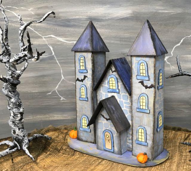 13 Days of Halloween castle #halloweenvillage #halloweencrafts #diyhalloween