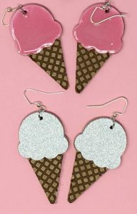 vanilla and strawberry ice cream cone earrings