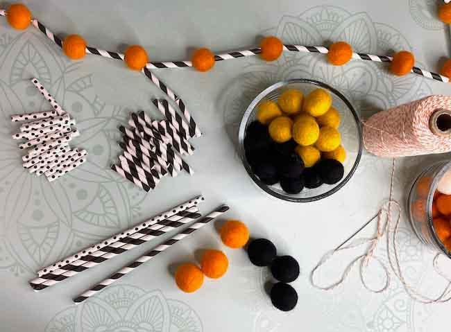 Supplies for Halloween paper straw garland