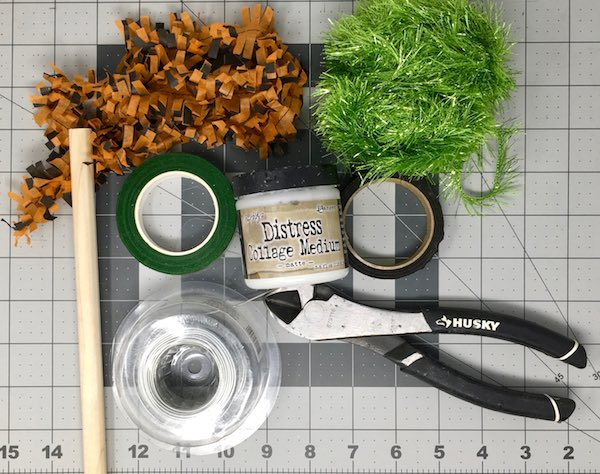 Supplies for making Fringe Feather tree DIY Halloween tree