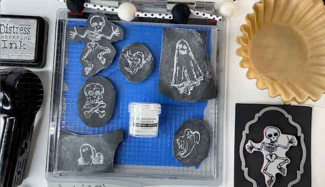 Supplies to make the Halloween chalkboard ornaments