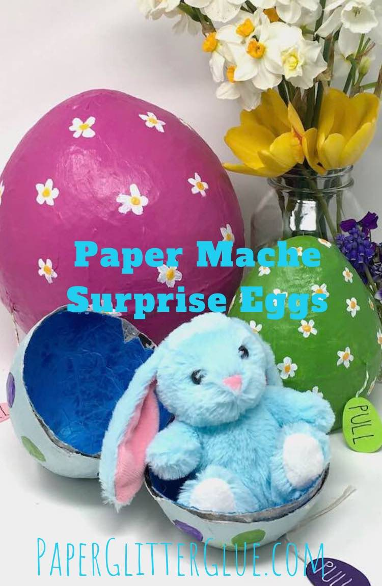 Surprise paper mache egg with bunny
