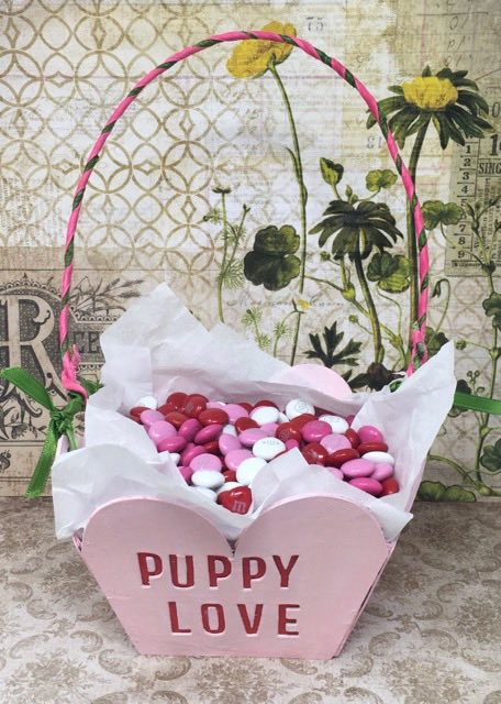 Sweetheart Candy Basket DIY pattern finished with candies