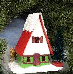 Swiss Chalet Miniature Christmas Putz house printable template and directions to make your own little house