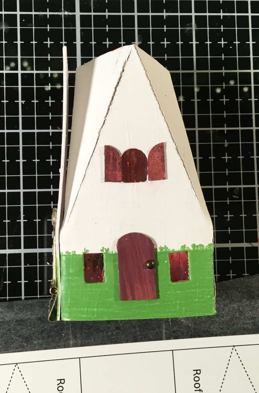 Swiss Chalet Christmas paper house glue tab towards front