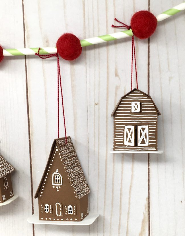 Swiss chalet and tiny barn paper ornaments