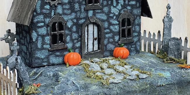 Tim Holtz village graveyard details paper house