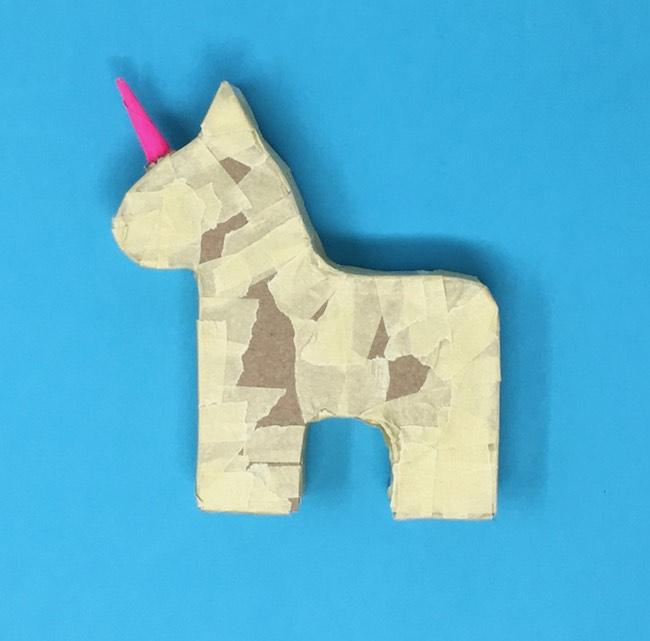 Taped Pinata base for unicorn gift box