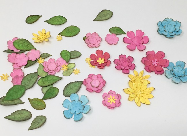 Tattered floral flowers for Easter Bunny decoration