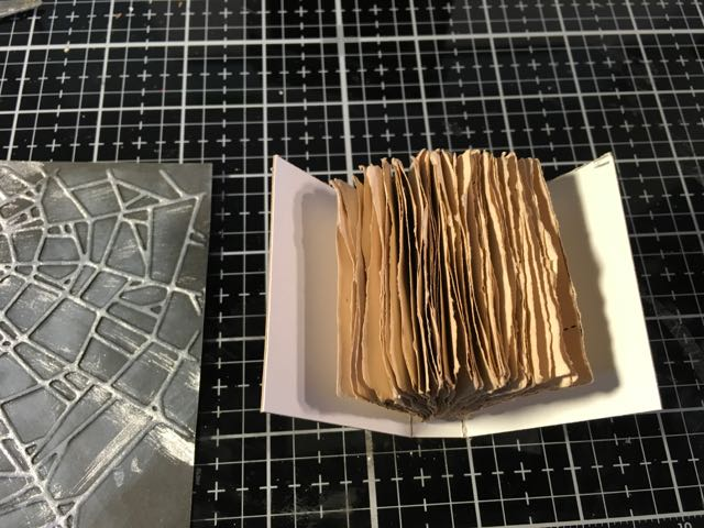 Tea stained papges test fit cover for miniature book #papercraft #halloweenbook