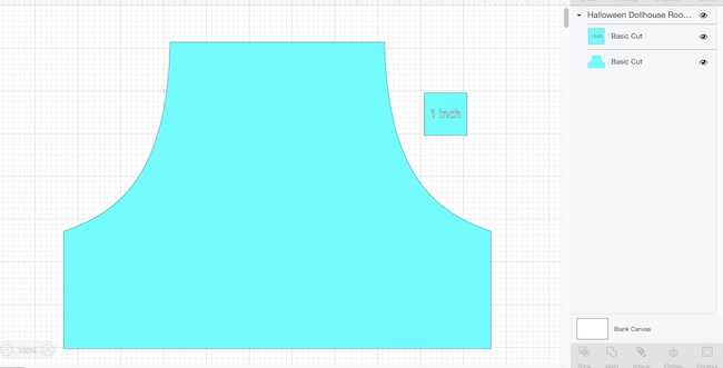 Template for roof shape on Halloween Dollhouse in Cricut Design Space