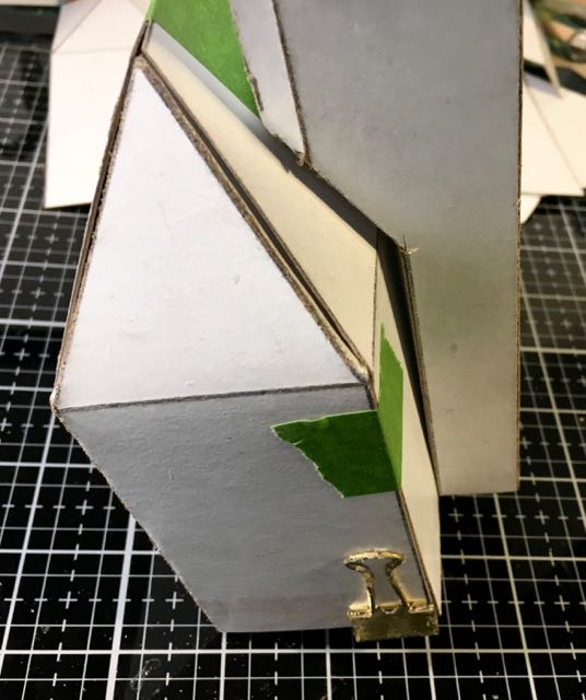 Test fit the front tower to the cardboard paper house