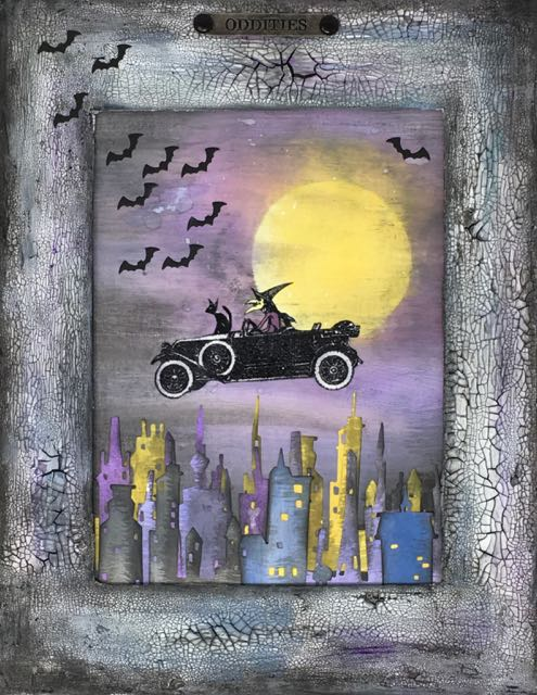 The Witch Rides Again - Halloween Wall Hanging #halloween #papercraft #timholtz