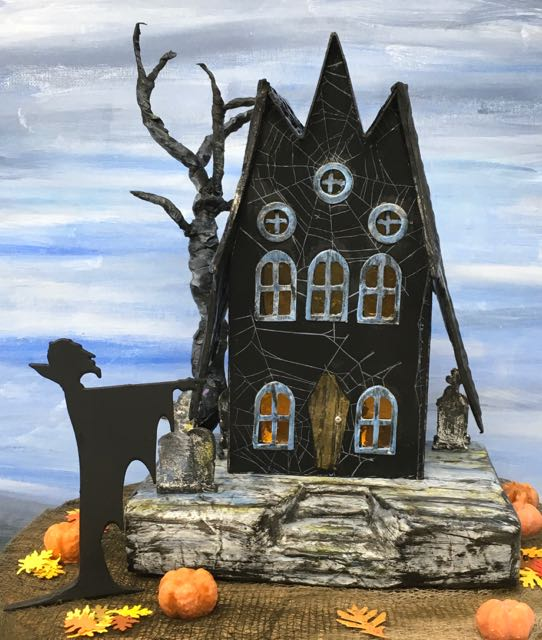 The Count Return Bat Wing Halloween House paper house front #halloweenhouse #paperhouse #putzhouse #halloweendiy