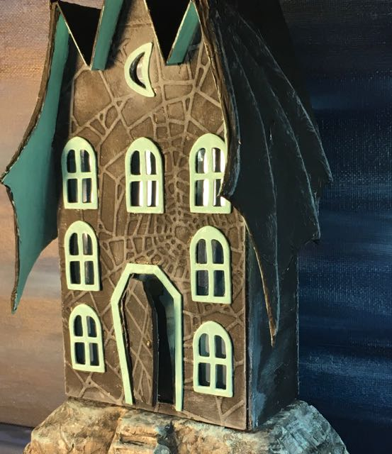 Bat Wing Halloween House showing the Count inside