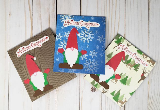 Three gnome pop-up cards