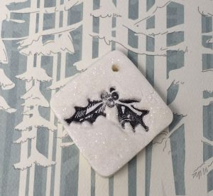 Tim Holtz Christmas Memories Holly stamp ornament