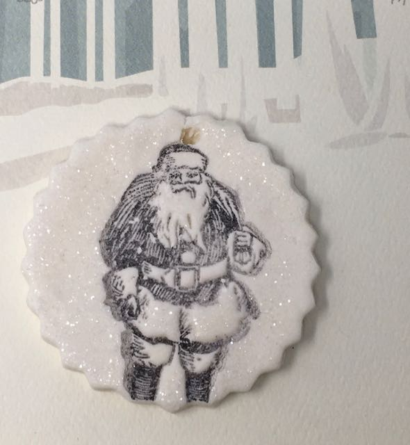 Tim Holtz Festive Overlay santa ornament