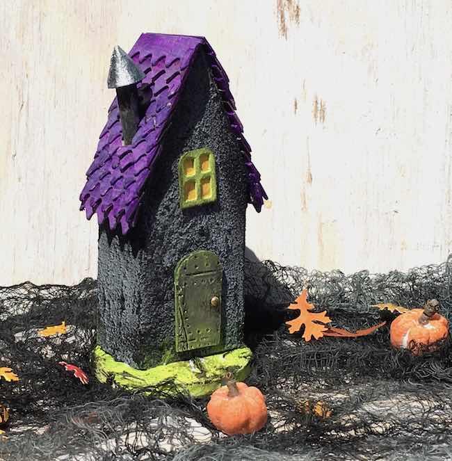 Tiny Halloween paper house purple shingles