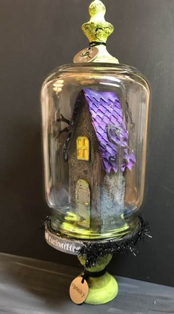 Tiny Paper House in a recycled jar