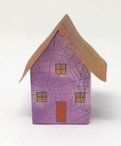 Tiny spidery pop-up house #popuphouse #paperpattern #papercraft
