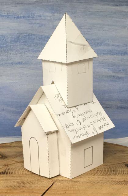 Too chunky steeple for Snowy Church Christmas glitter house