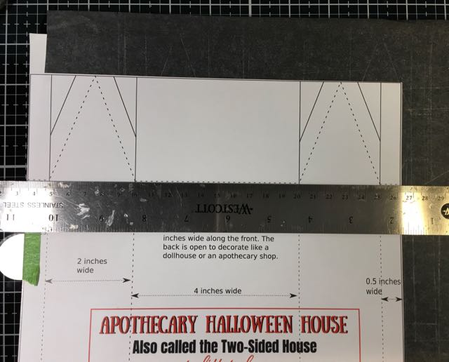 Trace Miniature Apothecary Halloween pattern onto cardboard #halloweenhouse #papercraft #halloween