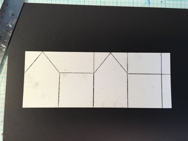 Easy Paper House pattern design transferred to cardboard.
