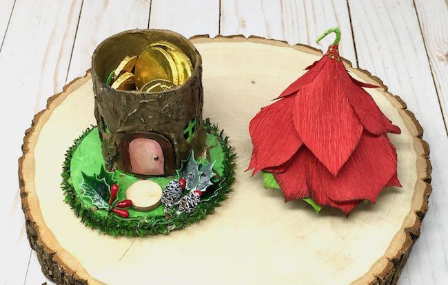 Treats inside the poinsettia fairy house