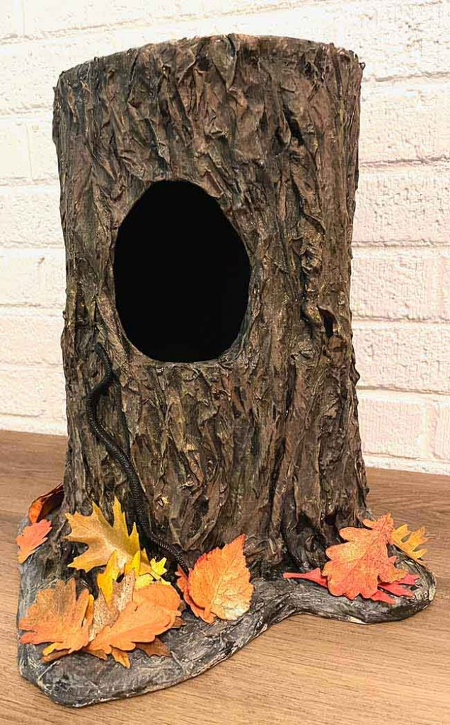 Tree Stump Candy Bowl with paper leaves