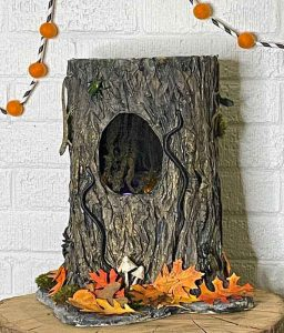 Tree stump Halloween Candy bowl paper mache completed
