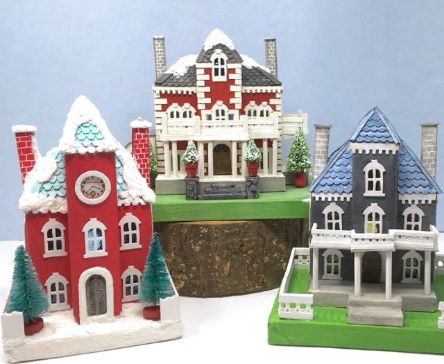 Putz houses based on one paper pattern #putzhouse #papercraft