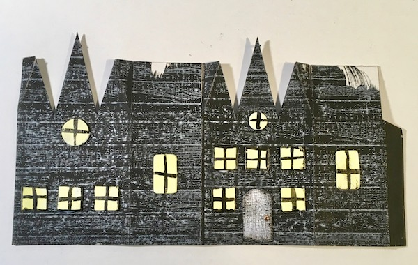 Triple Gable Gothic Halloween paper house stamped #halloweenhouse #diyhalloween #paperhouse