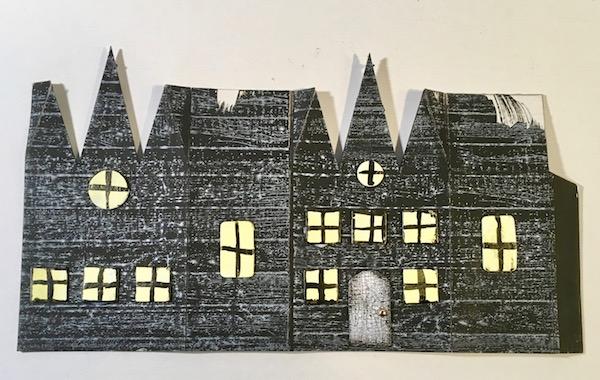 Triple Gable Gothic Halloween paper house stamped #halloweenhouse #diyhalloween #paperhouse