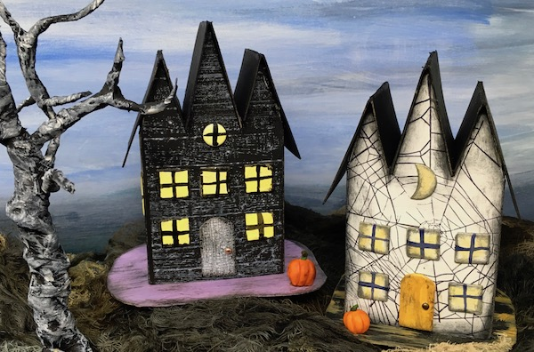 Triple gable gothic halloween paper houses #halloweenhouse #diyhalloween #paperhouse
