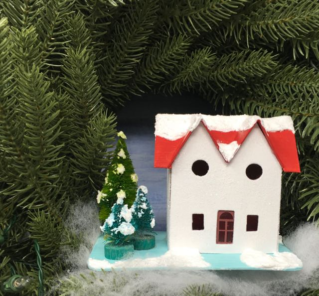 Twin gable Christmas putz house red roof snow on trees
