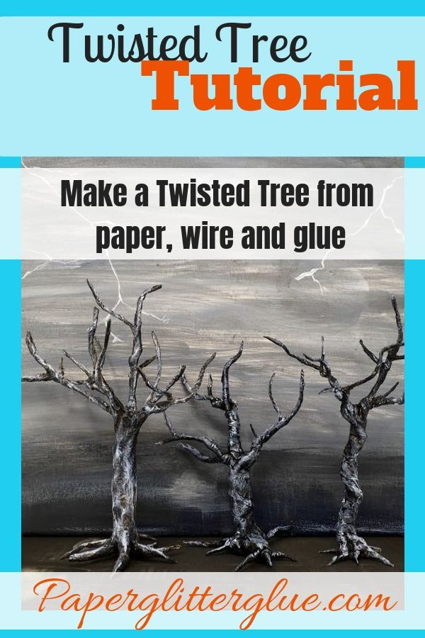 How to make a twisted tree for your Halloween Decor with paper wire and glue