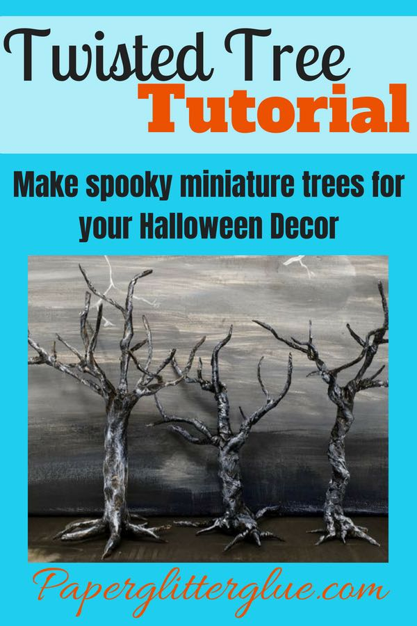 Paper-covered wire twisted trees for Halloween decorations and display