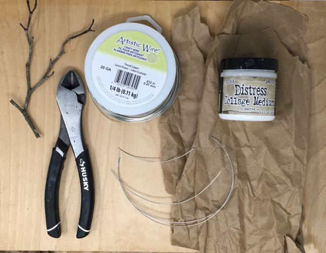 Twisted Tree supplies - glue, brown paper, wire, wire cutters
