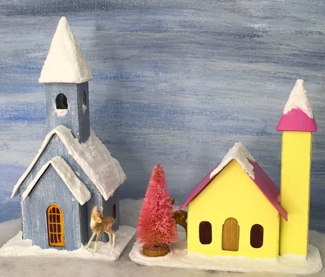 Two Putz house churches for the 12 Houses for Christmas series