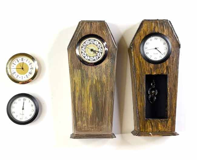 Two clocks with clock inserts