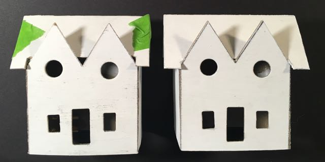 Two versions of Twin gable Christmas Putz house showing roof gaps