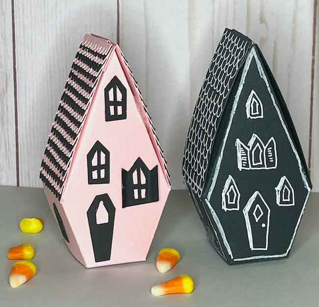 Two ways to decorate the paper Halloween house candy box